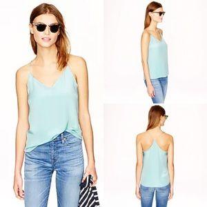 J. Crew Carrie Cami 100% Silk in Mint Blue